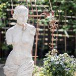 vit staty trädgård notställ