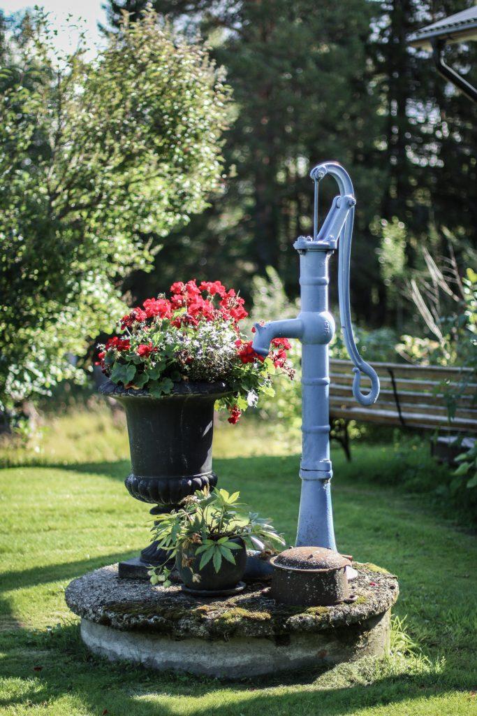 brunn röda blommor kran